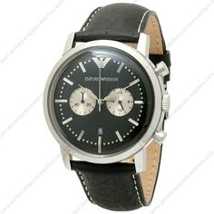 Emporio Armani AR0576 - Mens Chronograph Black Leather Designer Watch