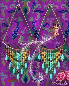 SALE Extra Large Colorful Beaded Bohemian Chandelier by kerala, $38.00