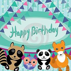 Funny animals. Owl, fox, raccoon, panda. Happy birthday card. Ve