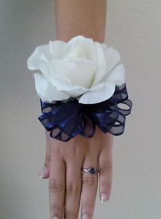 Ready to ship single white Real Touch rose with navy blue ribbon wrist corsage and boutonniere set with rhinestone or pearl band. *Colors can