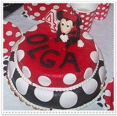 Dwupiętrowy tort z Minnie z okazji 4 urodzin Olgi