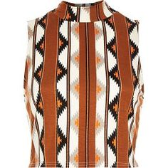 River Island Womens Brown tribal print fitted crop top