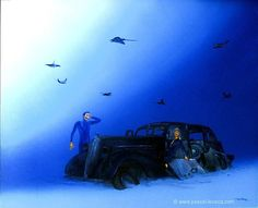 "COUP DE LA PANNE - To pretend to break down - Oil on canvas  by Pascal Lecocq The Painter of Blue 41 x 51 cm 16""x20"" Lec704 2005 available.  pascal lecocq #sedan #plymouth #rays#art #blue #painterofblue #painting #painter #artist #contemporaryartcurator #artstack #artisticallysocial #in #pint"