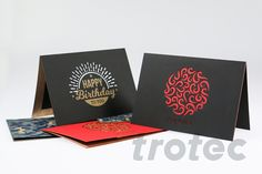 Whether you are making a birthday card, gift packaging or seasonal greetings: The Trotec LaserPaper range offers many colors for different applications. Trotec Laser, Birthday Cards, Happy Birthday, Gift Packaging, Diy Paper, Engraving Ideas, Greeting Cards, Personalized Items, Laser Cutting