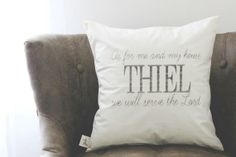 We Will Serve The Lord 16 x 16 Personalized Pillow Cover, couple, wedding, engagement gift, wedding shower, throw, cushion