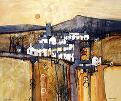 Moorland village 3 by Martin Proctor at the Dart Gallery, Dartmouth in Devon. Watercolor Architecture, Watercolor Landscape, Abstract Landscape, Landscape Paintings, Abstract Art, Watercolor Artists, Abstract Paintings, Oil Paintings, Painting Art