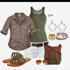 Safari outfit. If those shoes were wedges that would be so me.
