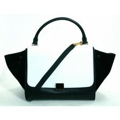 Celine Black and White Leather and Sude Trapeze Shopper Bag