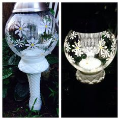 Beautiful solar light I made from two vases I glued together. The solar light simply rests on top. Looks great day and night.