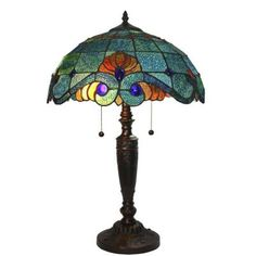 Serena D'italia Tiffany Style 25 in. Blue Vintage Table Lamp-DYL8088TL - The Home Depot
