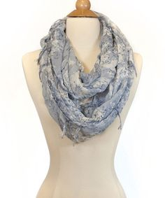 Take a look at this Blue Two-Tone Infinity Scarf by Violet Del Mar on #zulily today!