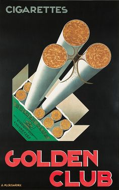 Poster by A. M. Cassandre (1901-1968), ca. 1925, Golden Club Cigarettes, Hachard & Cie., Paris.
