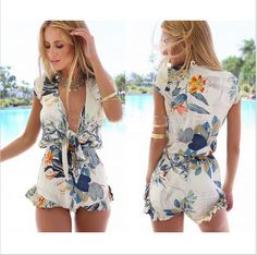 6e12666e79 2015 New Fashion Women Brand Jumpsuit Print Casual Rompers Deep V-Neck  Summer Flouncing Leisure