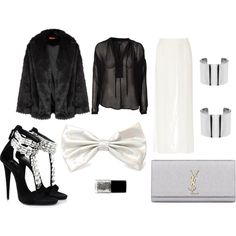 """6bowtie black&silver"" by workingincloset on Polyvore #silver #bowtie #cool #style #new #look #fashion  http://workingincloset.blogspot.it/"