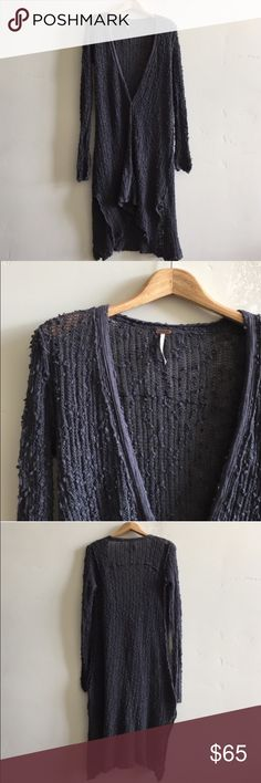 Free People Maxi Cardigan  Free People navy blue shaggy loose knit maxi cardigan.  Features five button detail, split sides and high low hem.  In excellent condition. Free People Sweaters Cardigans