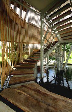 Tropical bamboo pavilion house