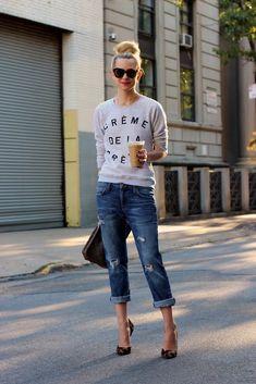 Sweatshirt: Zoe Karssen. Jeans: Current/Elliott. Shoes: Giuseppe Zanotti. Bag: Vintage LV. Sunglasses: Karen Walker 'Number One'. Lips: Nars 'Schiap'.