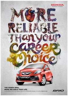 Honda Brio Ad Campaign by Teagan White, via Behance Great combination of illustration and graphic design Typography Ads, Creative Typography, Typography Design, Typography Inspiration, Graphic Design Inspiration, Daily Inspiration, Honda Brio, Types Of Lettering, Hand Lettering