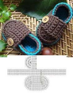Baby boy shoes (loafers) - Have Grandma make Crochet Baby Shoes, Crochet Baby Booties, Crochet Slippers, Knitted Baby, Crochet Geek, Crochet For Boys, Articles Pour Enfants, Crochet Patron, Baby Boy Shoes