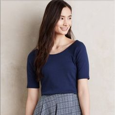 """Anthropologie navy tee Super cute comfortable top. Polyester, cotton and spandex blend. Approx 23"""" long. Anthropologie Tops Tees - Short Sleeve"""