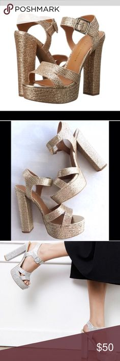 🎁Holiday Ready!! Gold Glitter Sparkle Heels 8 New in box. Third photo is them modeled in silver. Pair for sale is gold. Box included. Perfect for parties!🎅🏻☃️🌲🎄🎄 Chinese Laundry Shoes Heels