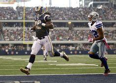 Orlando Scandrick Photos Photos - Steven Jackson #39 of the St. Louis Rams runs for a touchdown against cornerback Orlando Scandrick #32 of the Dallas Cowboys at Cowboys Stadium on October 23, 2011 in Arlington, Texas. - St. Louis Rams v Dallas Cowboys