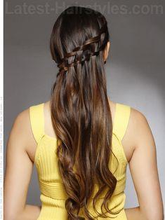 Waterfall Diagonal Braid for Long Hair