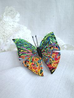 Felt Brooch Yellow Green Butterfly.  Fiber Art Pin. Felt brooch. Freehand Machine Embroidered .Butterfly Brooch. Fabric butterfly. by SvitLoShop on Etsy