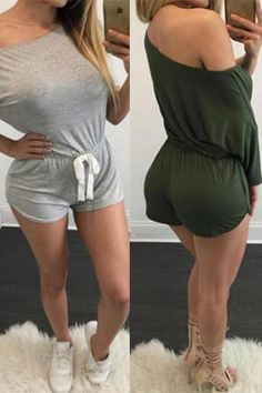 6a73b0d1582 Ladies Green Gray Short Sporty Cotton All-in-One Playsuit – outyfit Grey  Shorts