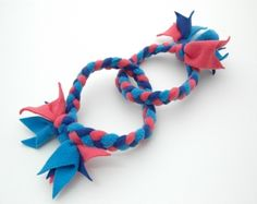 Double-Ring Tug Dog Toy (Dk Blue, Aqua, and Pink)  $6