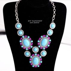 Blue Necklace  Bib Necklace  Statement Necklace Collar by Vaponet
