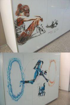 Amazing Portal whiteboard art from a university  building