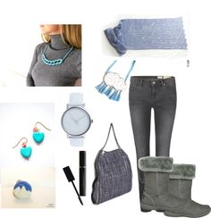"""blue grey winter"" by efzin on Polyvore"