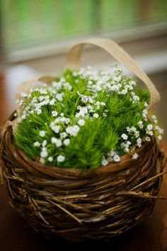 """Flower girl """"baskets"""" full of babys breath & greens. From Cyndie & Mike's quirky, forest-themed Virginia wedding with lots of Pine tree & wood details! Images via Softbox Media Photography."""