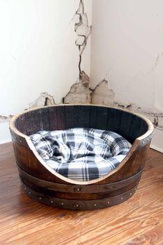 Reclaimed Napa Wine Barrel Large Pet Bed - $190