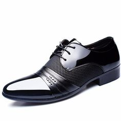 ZLQ Formal Mens Business Oxfords PU Leather Block Heel Soft Sole Flats Breathable Shoes