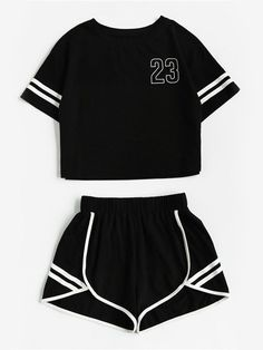 2018 Tracksuit Women Two Piece Set Summer T Shirt Crop Tops and Shorts Set Fashion BTS Kpop Stripe Lady Track Suit Set 2 Pieces - Lilly is Love Legging Outfits, Sporty Outfits, Teen Fashion Outfits, Mode Outfits, Outfits For Teens, Girl Outfits, Pants Outfit, Emo Fashion, Fashion Purses