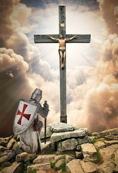 Knights Templar Warrior of Christ Knights Templar History, Knights Templar Symbols, Christian Warrior, Christian Art, Catholic Art, Religious Art, Tattoo Manche, Knight Tattoo, Crusader Knight