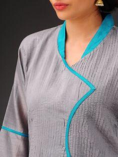 Grey Pintuck with Turquoise Collar Angrakha Chanderi Kurta