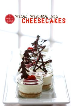 Mini Mason Jar Cheesecakes - so cute and delicious! via Inspired by Charm!  @Michael Wurm, Jr. {inspiredbycharm.com} #12days72ideas #IBCholiday