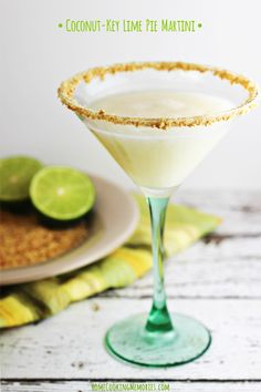 Coconut-Key Lime Pie Martini ounces coconut rum ounces vanilla vodka ¾ ounce key lime juice ½ ounce pineapple juice 2 tablespoons cream of coconut Martini Recipes, Cocktail Recipes, Cocktail Drinks, Drink Recipes, Dessert Recipes, Easy Cocktails, Margarita Recipes, Bar Drinks, Summer Cocktails