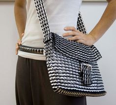 Recycled Pop Tab / Soda Can Messenger Bag Black & by CariocaGirl, $145.00    WOW!!! I saw someone with one of these today, and I'm officially obsessed. I wish I could AFFORD one!