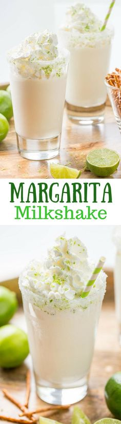 Margarita Milkshake ~ creamy vanilla ice cream blended with fresh lime juice, orange liqueur and of course tequila, for a surprisingly delicious grown up treat. www.savingdessert.com