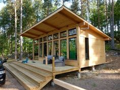 Attefallshus Lindköping I — Swedish Timber Frame Tiny Cabins, Tiny House Cabin, Cabins And Cottages, Tiny House Living, Tiny House Plans, Tiny House Design, Cabin Homes, Small Cabin Plans, Log Cabins