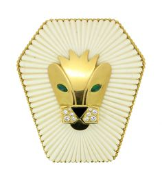 A Gold, Ivory and Gem-set Lions Head Pendant/ Brooch, by FRED