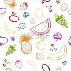 Frutas y bayas esbozar fondo transparente para su dise o  Foto de archivo
