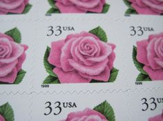 Pink Roses ... Unused Vintage Postage Stamps ... by LoveThePostage, $14.50