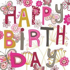 Happy Birthday tekst met vlinders - Verjaardagskaarten - Kaartje2go
