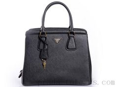 9d4ee73ca9e7 Authentic  Prada BN2412 Handbags in Black Outlet store