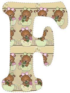 CH.B *✿* De Katia Artes Alfabeto Animal, Unfinished Business, Alphabet, Teddy Bear, Learning, Animals, Monogram, Decorated Letters, Art